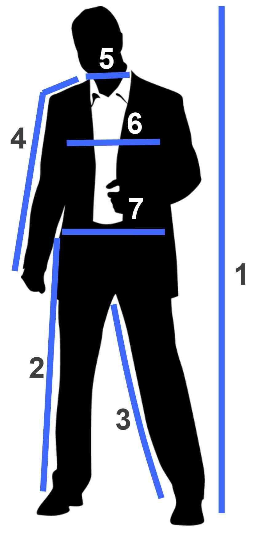 Мерки для размеров мужской одежды